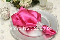 free shipping fuchsia  plain satin napkin for wedding and banquet /napkins