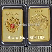 HOT SALE! Free shipping 2pcs/lot RARE 1 OZ. SOVIET RUSSIAN USSR CCCP PURE .999 24K GOLD LAYERED INGOT BULLION BAR