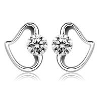 BF98001 2013 Brand New Design,Lovely Stud Earring,Bling Zirconia and Platinum Plated Sterling Silver Heart Shape,Free Shipping!
