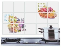 free shipping   High-grade oil proofing kitchen stickers / wall stickers a basket of flowers 75*45CM