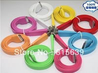Free shipping fedex 100pcs/lot Noodles Flat Sync USB Data cable, usb charger cable/data sync usb cable For iphone 4/4s