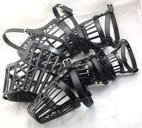 "NEW flash Pet Dog Black (6""~13.5"") Dog no bark Adjustable Basket Cage mesh Muzzle mask Guardian.B80"