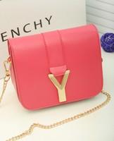 2014 hot sale new fashion PU women Messenger bags Y bag Cute Candy color small Cross body bag Chain strip