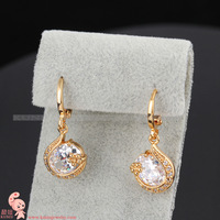 ER0209 Gold plated crystal drop earrings Zircon Rhinestone fashion Jewelry KUNIU