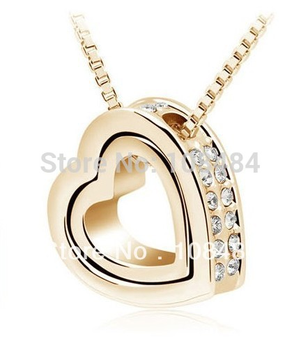 Wholesale necklace crystal charms heart necklace personalized Rhinestones couture necklace jewelry LM_N037 FREE SHIPPING(China (Mainland))