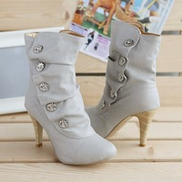ON sale Free shipping 2013 winther New Sexy style high heel PU Mid Calf boots Ladies' lovely Fashion Snow shoes 3 Colors9-1NZX