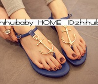 free hongkong post~ 3 COLORS GOLD ANCHOR T BAR FLAT SANDALS J611