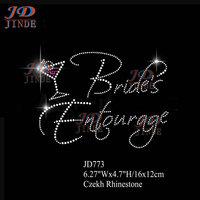 20pcs/lot Hotfix Rhinestone Iron On Transfer Bride's Entourage(With Drink) Motif 6.27 Inches