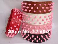 Pink Spikes & Studs Dog Collars Leather Pet Dog Collars Pit bull Terrier Collars Dogs Collar Bully Husky