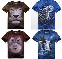 Hot sale! 2013 summer fashion 3D Men man T-shirt Animal Pugs man shirt lion animal The United States of America tiger owl Wolf