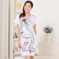 Free shipping Villmergen Women summer high quality cotton short-sleeve sleepwear cartoon princess jumpsuit nightgown