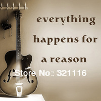 Free Shipping Home Decor Wall Stickers Wall Quote Decals-everything happens for a reason( 39.4 x 15.7 in/set)