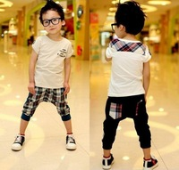 Free Shipping 2013 Children's summer wear suits  Boy/Girl Fashion sports Sets T-shirt+Pants  2pcs  Children's clothes