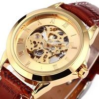 Men's Leather Auto Steel Case Men's Mechanical Wrist Watch Free Shipping