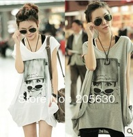 2013  t-shirt  loose plus size fashion clothing top medium-long mm femaleshort-sleeve o-neck