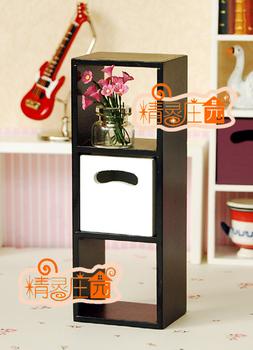 Doll house mini dollhouse furniture model black 3 shelf bookshelf magicaf