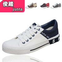 2013 color block decoration breathable lacing low casual shoes lovers design canvas shoes male female