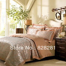 new 2014 Golden Palace king queen Jacquard duvet cover Embroidery Satin bed set tencel and cotton blended bedding set 18(China (Mainland))