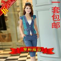 2013 fashion set cotton summer short-sleeve one button suit collar female slim denim patchwork new arrival