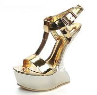 2013 in Europe and America fashion T type belt to nightclub with Luxury brand gold alien high heel women's platform sandals