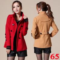 2013 spring women's fashion slim plus size double breasted medium-long woolen outerwear female wool coat
