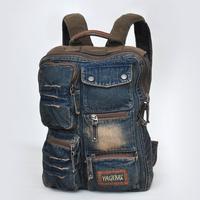 Men Mochila Masculina Escolar Back Pack Vintage School Jean Knapsack Bag For Teenagers Rucksack Bagpack Denim Backpack S227