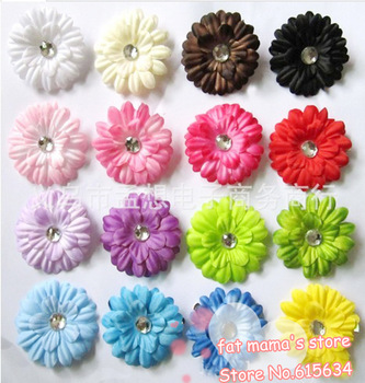 MX09 new 50 pcs 5cm 2inch Gerbera Daisy Kid Baby Girl Headband Headwrap Headbands Headwear Hair Bow Clip Crochet Knit