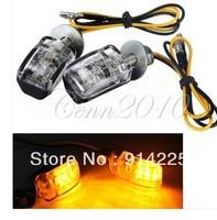 2X 6LED Motorcycle Mini Amber Turn Signal Lights Blinker Indicator Black 12V    Free shipping