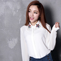 2013 women's beautiful blouses gem collar diamand chiffon long-sleeve shirt clothes free shipping