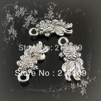 Whosesale Antique style silver color vintage goldfish pendants charms findings 90pcs  31149
