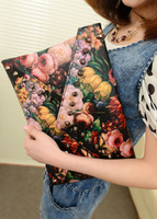 2013 fashion flower oil painting day clutch rivets envelope clutch bag color block Women vintage bags