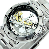 Original Box + Promotion! Men's High Quality Transparent Automatic Mechanical Watch Waterproof Stainless Steel Wristwatch