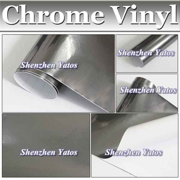 Black Chrome Mirror Car PVC Folie/Chrome Vinyl Wrap Foil/1.52*30M/Air Bubble(China (Mainland))