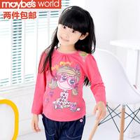 Children's clothing female child spring 2013 long-sleeve T-shirt child 100% cotton basic shirt