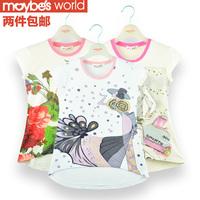 Children's clothing female child 2013 spring summer short-sleeve T-shirt child basic shirt