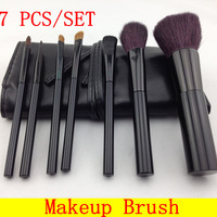 [HZS-007]7 PCS Professional Makeup Brush Cosmetic Brushes Set + Leather Pouch + Free Shipping