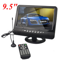 Free shipping 9.5 inch TFT LCD color Analog TV with wide view angle Support SD/MMC Card USB Flash disk with retail package