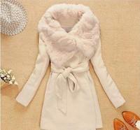 WT-049 Women's Woolen Coat Long Style Tweed Coat Fashion Warm Winter Jacket Fur Jacket S/M/L/XL