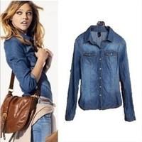 Free shipping 2013 new European and American women's lapel wild Slim denim shirt denim shirtS M L