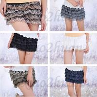 Free Shipping Hot Fashion Lady Girls Layered Pleated Chiffon Lace Short Mini Pompon Skirt