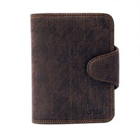 Male wallet cowhide wallet short design wallet multifunctional change place dark gray