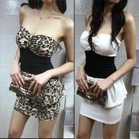 2013 summer basic tube top tube top dress leopard print slim hip women's sexy slim one-piece dress