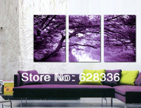 Frame 3 Piece Free Shipping Wall Painting Purple Forest Home Decorative Oil Painting Picture Printed On Canvassynj-03