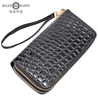 Women's wallet female wallet long design genuine leather japanned leather day clutch double zipper bag