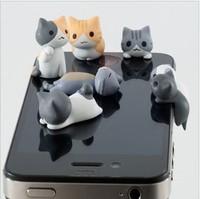 Wholesale 1LOT 5PCS Sweet little cute cat dust plug for Iphone protective plug Hole plug Headphone jack Free shipping