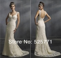 Free shipping New High Quality Lace Wedding Dresses Sweetheart Sheer Straps Beautiful Sexy Bridal Gown Custom Size