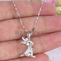 Lucky rabbit s925 pure silver pendants female zodiac pendant necklace silver jewelry