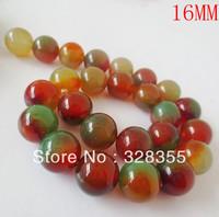DIY Fashion Jewelry Making Semi Precious Stone 16MM Natural Round Peacock Agate Loose Bead 25pcs Per String Free Shipping