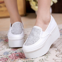 Free shipping, 2013 elegant platform wedges single shoes rhinestone platform elevator low-top casual female shoes