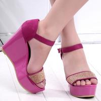 Free shipping, Summer 2013 women's shoes wedges sandals platform platform rhinestone shoes